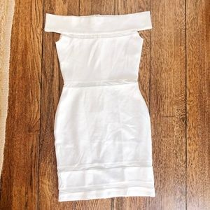 French Connection White Mini Dress with Mesh